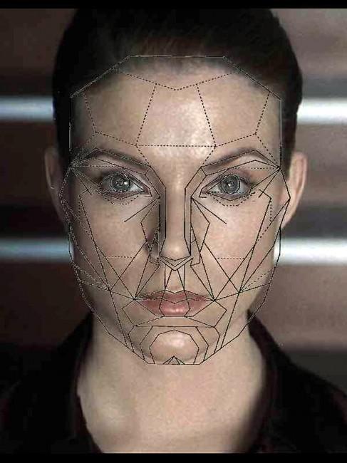 Maschera di Marquard sovrapposta all'immagine del volto di Claudia Katz, tratta dal film di Steven Spielberg, A.I. Artificial Intelligence, USA 2001