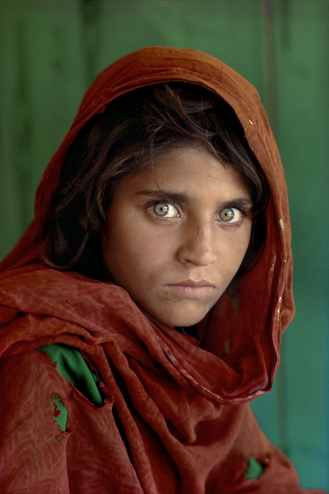Steve McCurry, Sharbat Gula, Afghan Girl, at Nasir Bagh refugee camp near Peshawar, Pakistan, 1984
