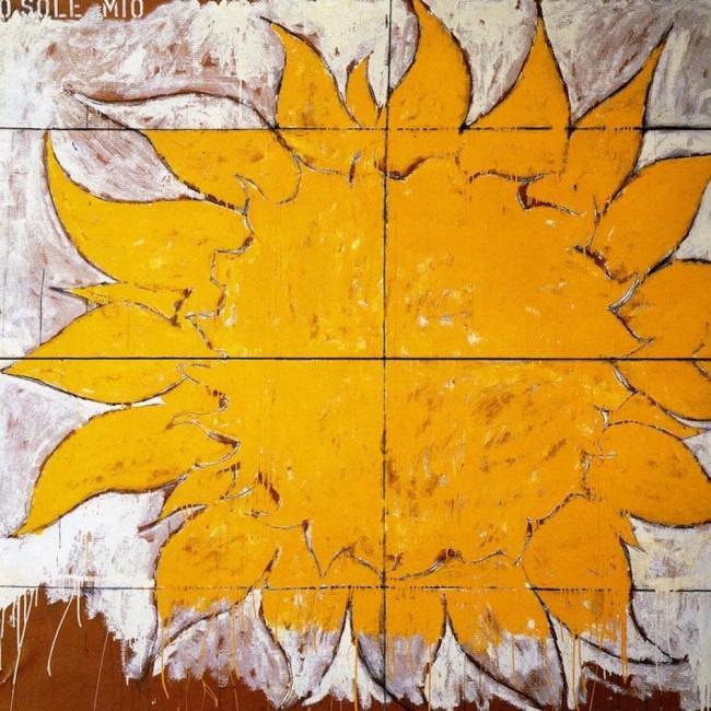 Mario Schifano: O sole mio, 1963, smalto su carta intelata, cm 200 x 200. collezione Gianfranco Baruchello