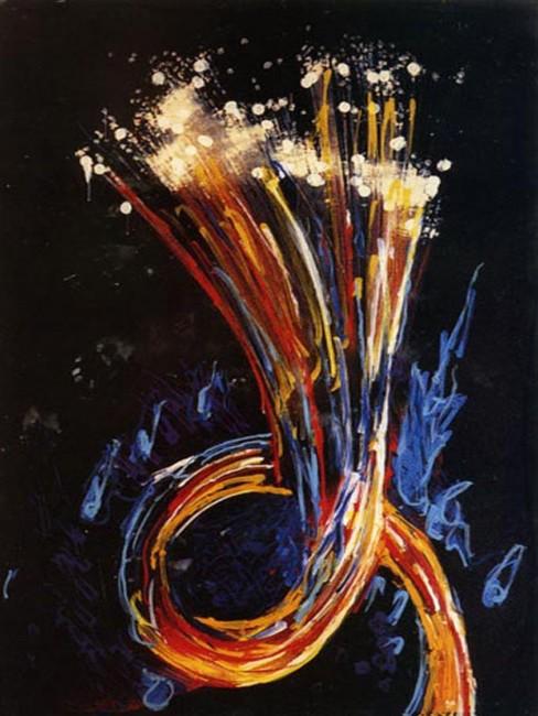 Mario Schifano, Senza titolo (fibre ottiche), 1997, smalto e acrilico su tela, pvc preparata al computer, cm 200 x 150. Collezione privata