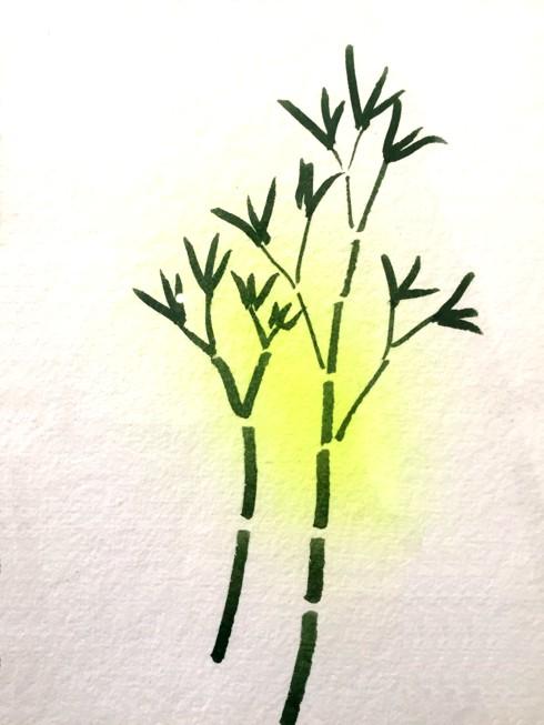 Bruno Munari, Ideogramma di un bambù, tecnica mista su carta a mano, 1996