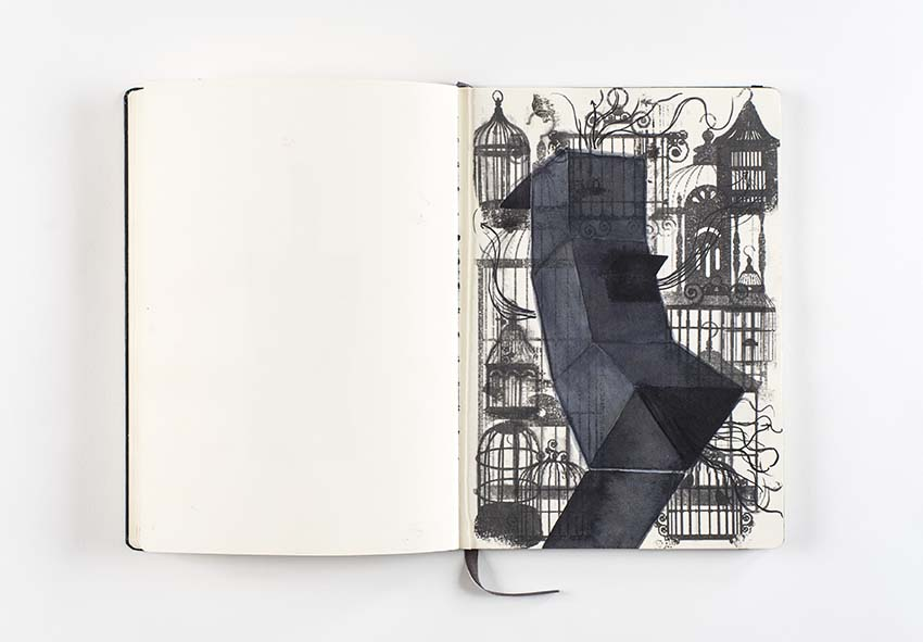Alfredo Pirri, La gabbia d'oro, 2014. Project for the Chiesa del Giglio oratory, Palermo, drawing: ink and mixed media on Moleskine paper. Photo: Giorgio Benni