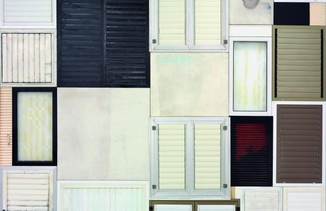"Tsibi Geva, Shutter Wall, 2015, wood, aluminum, plastc, glass, canvas, plaster, tin, Formica, 500×425×5, 500×450×5, detail, ""Tsibi Geva, Archeology of the Present"", The Israeli Pavillon at the 56th International Art Exhibition – la Biennale di Venezia, 2015 Photo: Elad Sarig"