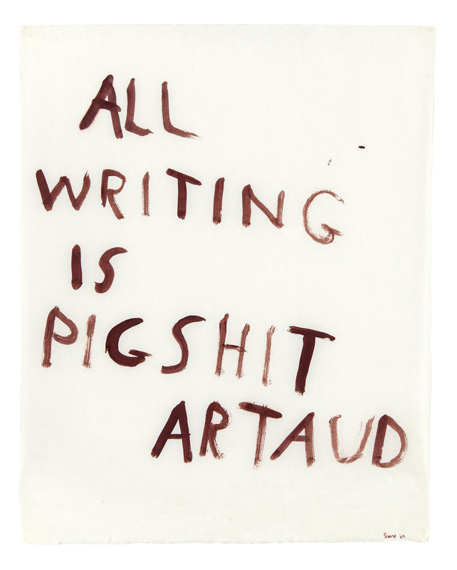 Nancy Spero, All writing is pigshit, 1970. Photo Fabrice Gibert © The Nancy Spero and Leon Golub Foundation for the Arts. Licensed by SIAE 2015. Courtesy Galerie Lelon