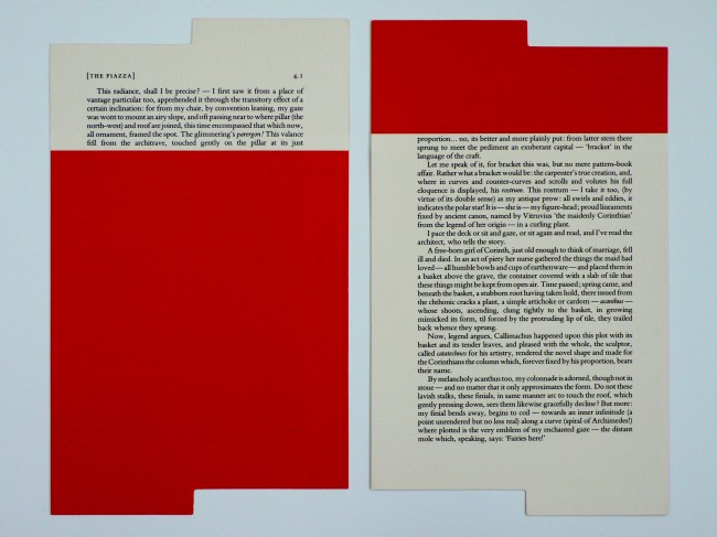 Rodney Graham, [The Piazza 4.1], 1989, Bookmark with text of, La Véranda, in English, interpolating, The  Piazza. The work consists of three bookmarks and a copy of Herman  Melville, The Piazza Tales and Other Prose Pieces, Edition of 25, 26.1 x 15.7 cm each, Recto and verso ©Saskia Gevaert, Brussels