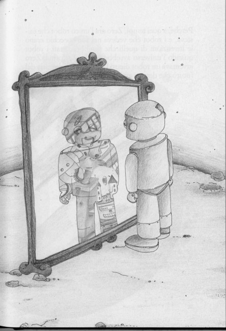 un'illustrazione tratta da Zero il robot, di Aldo Nove e Marta F. Tassi, Grandi assaggi Bompiani