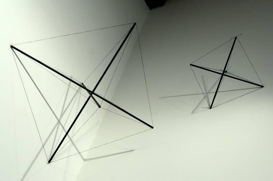 Tensostruttura, bacchette di metallo, filo di cotone tiratura 50 esemplari