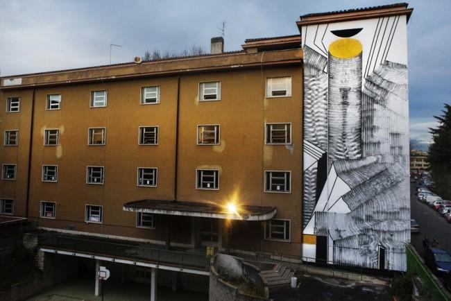 """2501, Assonometria del cerchio"""", Pigneto, Roma. Progetto """"Light Up Torpigna!"""" a cura di Wunderkammern © Giorgio Coen Cagli, courtesy Wunderkammern."""