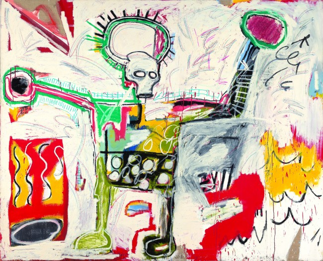 Untitled, 1982 Acrylic and oil on linen 193 x 239 cm Museum Boijmans Van Beuningen, Rotterdam Photo by Studio Tromp, Rotterdam © The Estate of Jean-Michel Basquiat Licensed by Artestar, New York