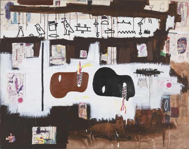 Dark Milk, 1986. Acrylic, Xerox collage, and paper collage on canvas, 172.5 x 219.5 cm. Private collection. Photo courtesy Gagosian Gallery © Estate of Jean-Michel Basquiat. Licensed by Artestar, New York