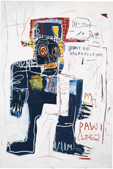 Irony of a Negro Policeman, 1981 Acrylic and crayon on canvas 183 x 122 cm Private collection © Estate of Jean-Michel Basquiat. Licensed by Artestar, New York