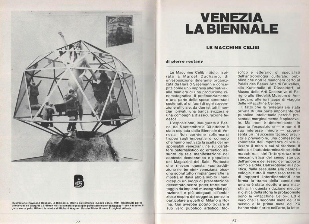 Venezia La Biennale, Le Macchine Celibi, articolo di Pierre Restany D'ARS n. 76-77, novembre-dicembre 1975, pagg. 56-61