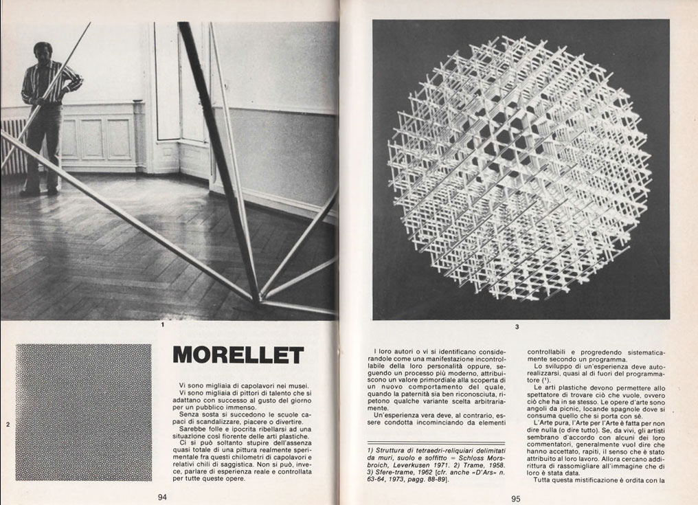 """""""Morellet"""", di François Morellet, pubblicato su D'ARS n. 84, anno XVIII, luglio 1977, pagg. 94-97"""