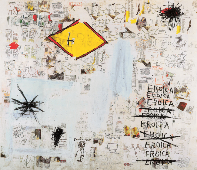 Eroica, 1987 Acrylic, oil stick, and Xerox collage on paper mounted on canvas 228.5 x 271.5 cm Private collection © Estate of Jean-Michel Basquiat. Licensed by Artestar, New York