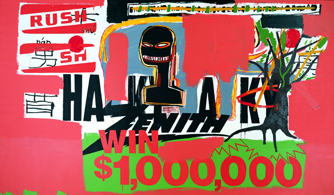 Jean-Michel Basquiat and Andy Warhol Win $ 1'000'000, 1984 Acrylic on canvas 170 x 288.5 cm Collection Bischofberger, Switzerland © Estate of Jean-Michel Basquiat. Licensed by Artestar, New York