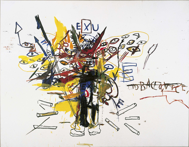 Exu, 1988 Acrylic and oil stick on canvas 199.3 x 254 cm Private collection © Estate of Jean-Michel Basquiat. Licensed by Artestar, New York