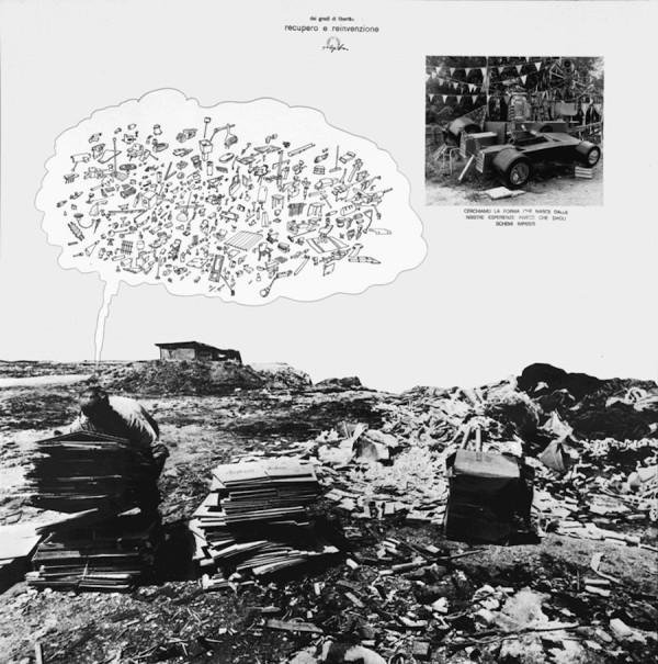 Ugo La Pietra, Dei gradi di libertà - Recupero e reinvenzione, 1969, tecnica mista e collage su carta, 80x80, Courtesy Studio Ugo La Pietra