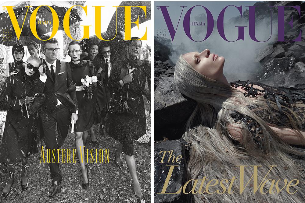Vogue Italia Agosto 2008 e Agosto 2010. ©Foto di Steven Meisel. Courtesy of CondèNast