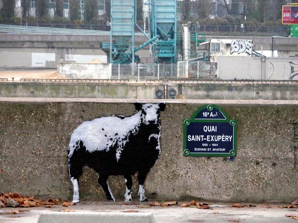 """Blek le Rat, """"Dessine moi un mouton"""", Parigi, 2003 ©Sybille Prou"""