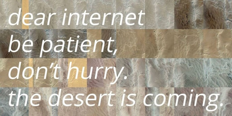 """A quiet desert failure"", Guido Segni, 2015. Algorithmic performance, Website, Tumblr archive"