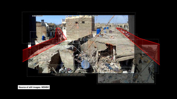 Fotogramma estratto da Decoding video testimony, Miranshah, Pakistan, 30 marzo, 2012 © Forensic Architecture en collaboration avec SITU Research