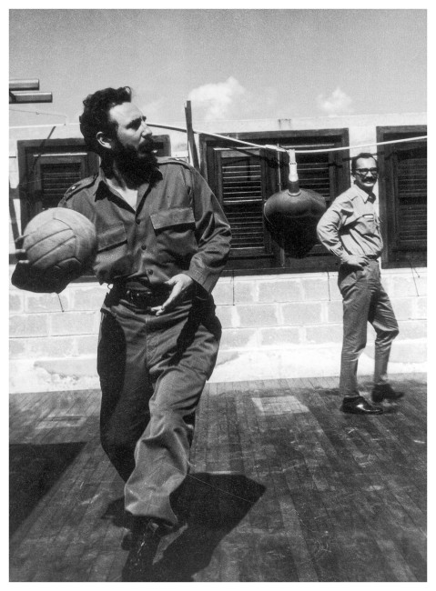 MARCO POLONI CODENAME : OSVALDO. TWO CASE STUDIES, CASE STUDY ONE: THE PISTOL OF MONIKA ERTL, 2013-14 #25 Giangiacomo Feltrinelli playing ball with Fidel Castro, La Havana, 1964, Moab paper, 40 x 30 cm