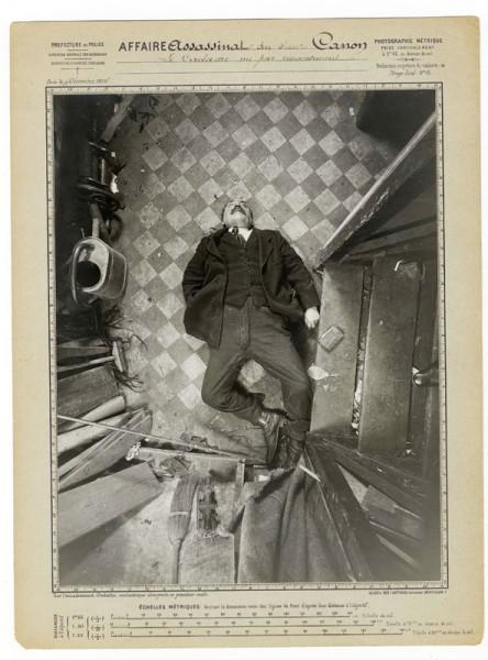 Protocollo di Alphonse Bertillon, Assassinio di Monsieur Canon, boulevard de Clichy, 9 dicembre 1914, vista per capovolgimento. Préfecture de police de Paris, Service de l'Identité judiciaire. © Archives de la Préfecture de police de Paris