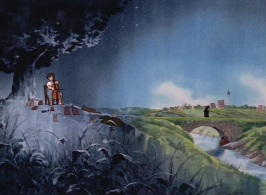 scena tratta da Goshu il violoncellista di Isao Takahata, Oh! Production, 1982