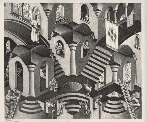 Maurits Cornelis Escher Convesso e concavo Marzo 1955 Litografia, 27,5x33,5 cm Collezione Giudiceandrea Federico All M.C. Escher works © 2016 The M.C. Escher Company. All rights reserved www.mcescher.com
