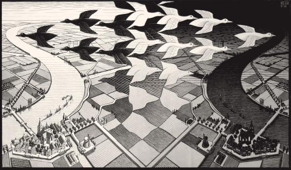 Giorno e notte, Febbraio 1938, Xilografia, Collezione privata © 2016 The M.C. Escher Company. All rights reserved