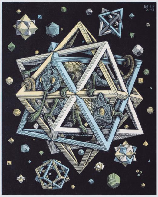 Maurits Cornelis Escher Stelle Novembre 1930 Xilografia colorata, 32x26 cm Collezione Giudiceandrea Federico All M.C. Escher works © 2016 The M.C. Escher Company. All rights reserved www.mcescher.com
