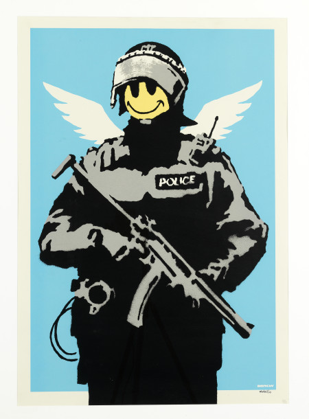 Banksy, Flying Copper, 2008, cm100x70