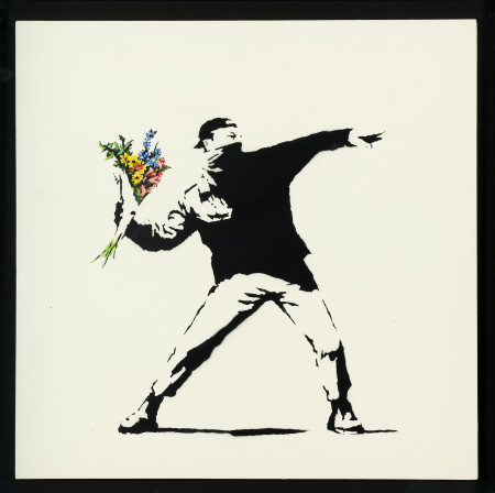 Banksy, Love is in the air (Flower trower), 2003, cm 90x90