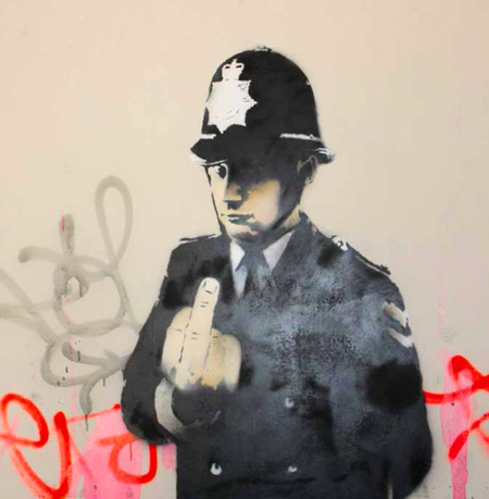 Banksy, Rude Copper, 2002, paint on canvas, cm 121x121