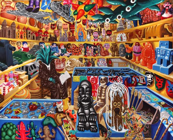 Hervé Di Rosa, Tienda del Senor Maguey, 2000, acrilico su tela, 220 x 246 cm. Adagp / Pierre Schwartz