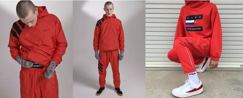 """A sinistra: Capi di Gosha Rubchinskiy su """"Dover Street Market E-shop – a destra: Fan"""